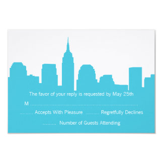 "NYC Skyline Wedding RSVP Cards 3.5"" X 5"" Invitation Card"