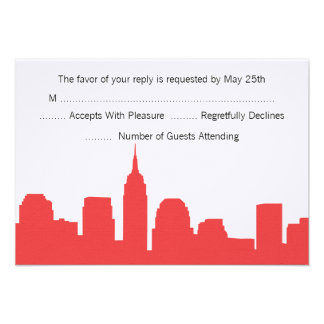 NYC Skyline Wedding RSVP Cards Personalized Announcement