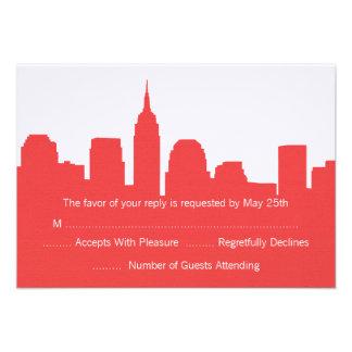 NYC Skyline Wedding RSVP Cards Personalized Invites