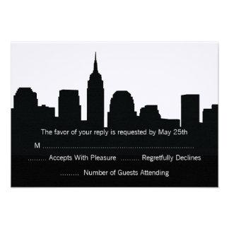 NYC Skyline Wedding RSVP Cards Personalized Invitation