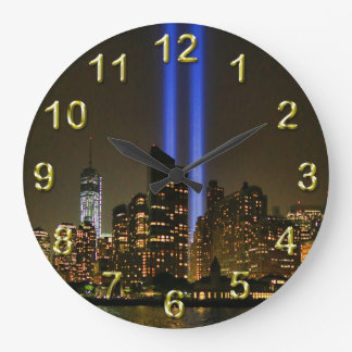 NYC Skyline: WTC  9/11 Tribute In Light 2013 #1 Large Clock