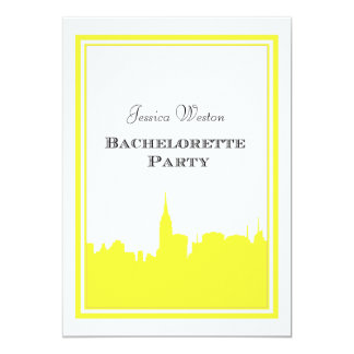 "NYC Skyline Yellow Silhouette #2 DIY Bachelorette 5"" X 7"" Invitation Card"