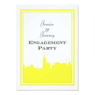 "NYC Skyline Yellow Silhouette #2 DIY Engagement 5"" X 7"" Invitation Card"