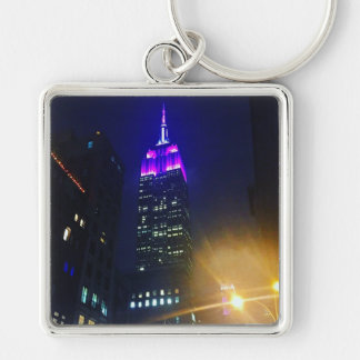 NYC Skyscraper Purple Empire State Building Night Keychain