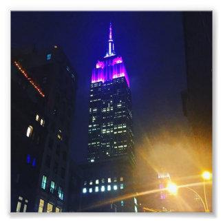 NYC Skyscraper Purple Empire State Building Night Photo Print