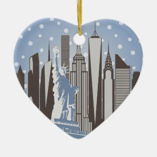 NYC Snowflakes Ceramic Heart Ornament
