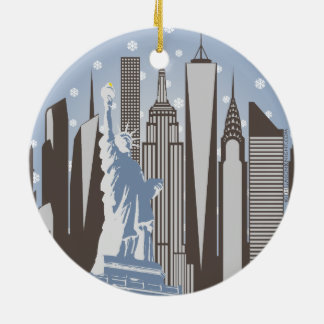 NYC Snowflakes Round Ceramic Ornament