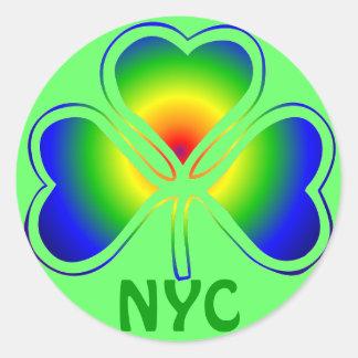 NYC St. Patrick's Day Rainbow Shamrock Classic Round Sticker