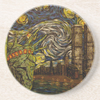 NYC Starry Night.: Twin Towers (The True Towers) Beverage Coaster