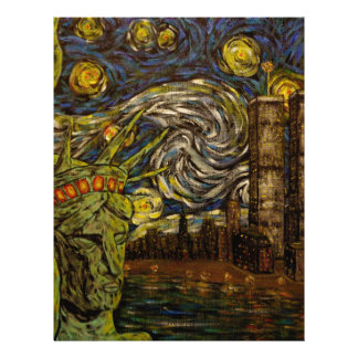 NYC Starry Night.: Twin Towers (The True Towers) Customized Letterhead