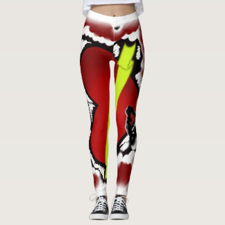 nyc style trendy rockabilly heart leggings
