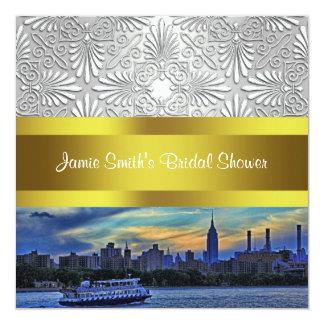 NYC Sunset Skyline ESB White Damask Bridal Shower Card