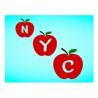 NYC Three Red Apples With Stem And Leaf Postcard