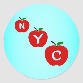 NYC Three Red Apples With Stem And Leaf Round Sticker