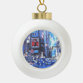 NYC Times Square Snowflake Framed Ornament