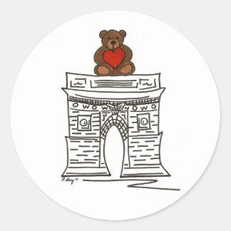 NYC Valentine Washington Square Teddy Bear Sticker