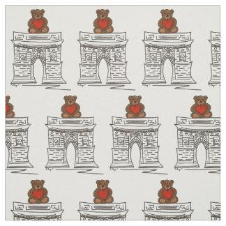 NYC Washington Square Teddy Bear Valentine Fabric