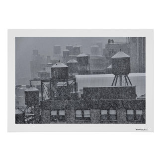 NYC Water Towers During Freak October Snow Storm Poster