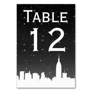 NYC White Skyline Silhouette Starry Black Sky Card