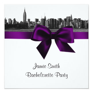 "NYC Wide Skyline Etch BW Purple Bachelorette SQ 5.25"" Square Invitation Card"