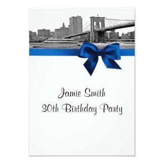 "NYC Wide Skyline Etched BB BW Royal Blue Birthday 5"" X 7"" Invitation Card"