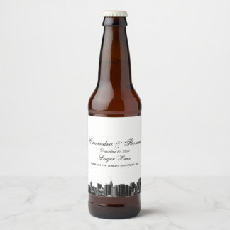 NYC Wide Skyline Etched BW Beer Bottle Label