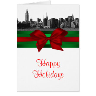 NYC Wide Skyline Etched BW Christmas Holiday Greeting Card