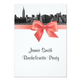"""NYC Wide Skyline Etched BW Coral Bachelorette Pty 5"""" X 7"""" Invitation Card"""