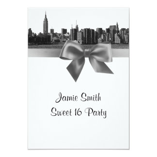 """NYC Wide Skyline Etched BW Gray Sweet 16 5"""" X 7"""" Invitation Card"""