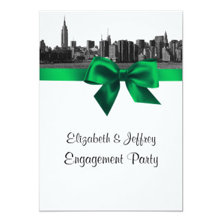 "NYC Wide Skyline Etched BW Green Engagement Party 5"" X 7"" Invitation Card"