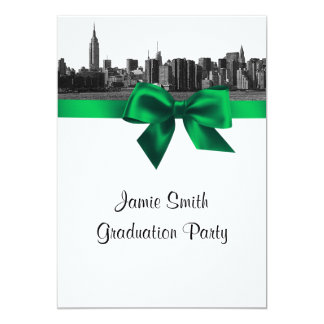 NYC Wide Skyline Etched BW Green Graduation Personalized Invite
