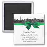 NYC Wide Skyline Etched BW Green Save the Date Fridge Magnet