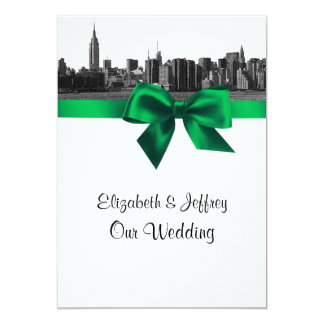 "NYC Wide Skyline Etched BW Green Wedding 5"" X 7"" Invitation Card"