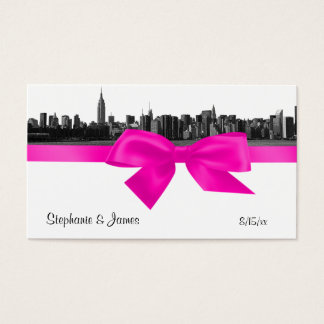 NYC Wide Skyline Etched BW Hot Pink Escort Cards