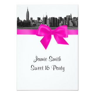 """NYC Wide Skyline Etched BW Hot Pink Sweet 16 5"""" X 7"""" Invitation Card"""