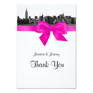 """NYC Wide Skyline Etched BW Hot Pink Thank You 3.5"""" X 5"""" Invitation Card"""