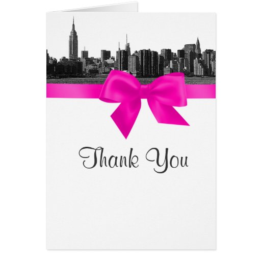 NYC Wide Skyline Etched BW Hot Pink Thank You Cards