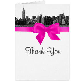 NYC Wide Skyline Etched BW Hot Pink Thank You Note Card