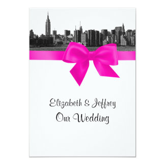 """NYC Wide Skyline Etched BW Hot Pink Wedding 5"""" X 7"""" Invitation Card"""
