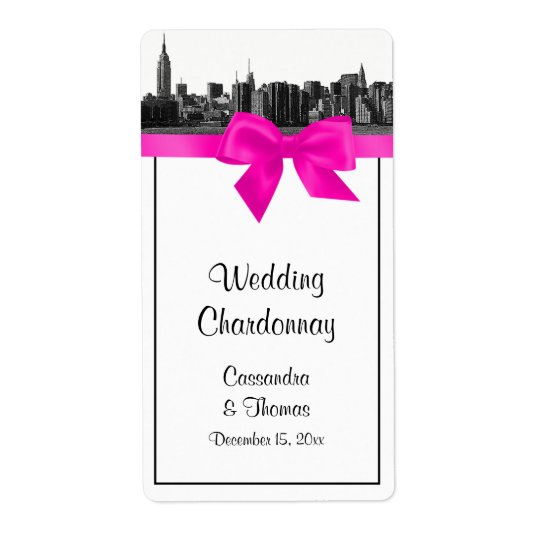 NYC Wide Skyline Etched BW Hot Pink Wine Label