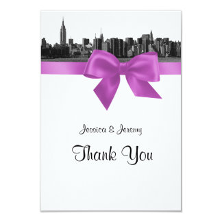 "NYC Wide Skyline Etched BW Lilac Thank You 3.5"" X 5"" Invitation Card"
