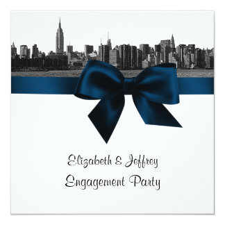 NYC Wide Skyline Etched BW Navy Engagement Pty SQ Personalized Invitation