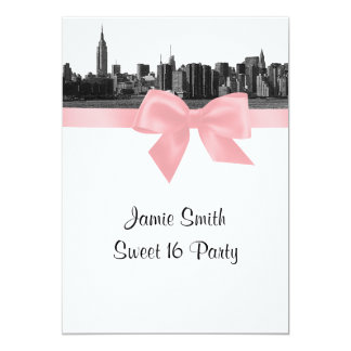 "NYC Wide Skyline Etched BW Pink Sweet Sixteen 5"" X 7"" Invitation Card"