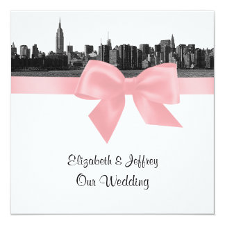 """NYC Wide Skyline Etched BW Pink Wedding SQ 5.25"""" Square Invitation Card"""