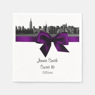 NYC Wide Skyline Etched BW Purple Sweet Sixteen Paper Napkins