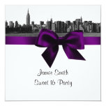 NYC Wide Skyline Etched BW Purple Sweet Sixteen SQ