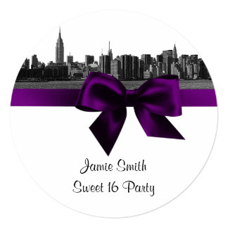 """NYC Wide Skyline Etched BW Purple Sweet Sixteen SQ 5.25"""" Square Invitation Card"""