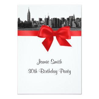 """NYC Wide Skyline Etched BW Red Birthday Party 5"""" X 7"""" Invitation Card"""
