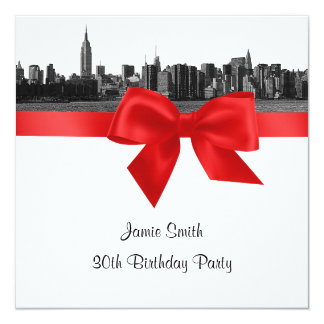 """NYC Wide Skyline Etched BW Red Birthday Party SQ 5.25"""" Square Invitation Card"""