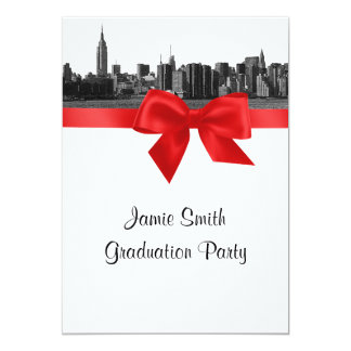 NYC Wide Skyline Etched BW Red Graduation 5x7 Paper Invitation Card